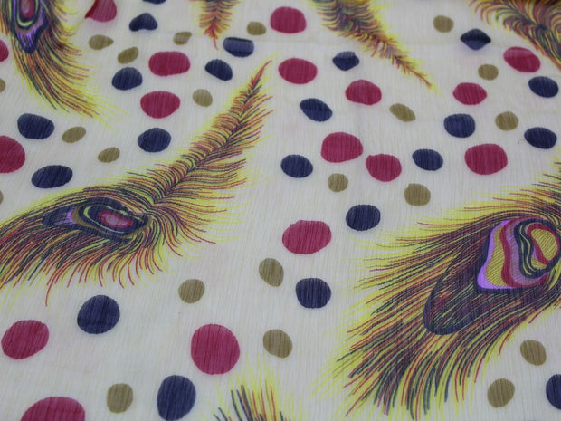 White Yellow Peacock Fins Print Design Poly Chiffon Fabric | The Design Cart