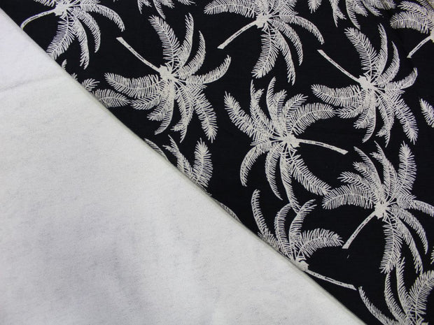 Black Palm Tree Design Crepe Rayon Fabric | The Design Cart