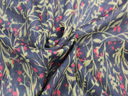 Black and Mehandi Leaf Print Design Poly Chiffon Fabric | The Design Cart