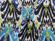 Multicolour Abstract Print Design Crepe Rayon Fabric | The Design Cart