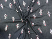 Black Leaf Print Design Crepe Rayon Fabric | The Design Cart