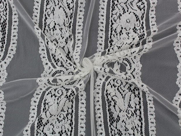 White Geometric Embroidered Nylon Net Fabric | The Design Cart