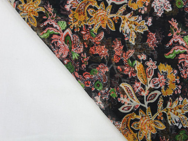 Multicolour Flower Print Design Poly Chiffon Fabric | The Design Cart