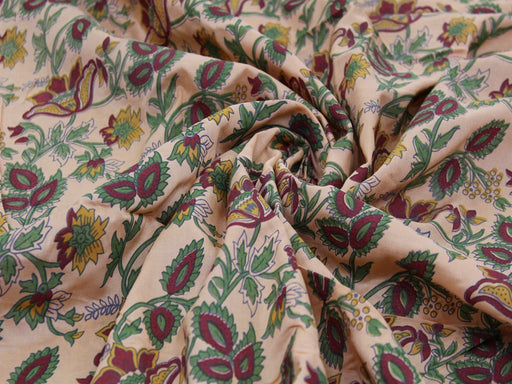 Peach Flowers Design Polyester Velvet Fabric
