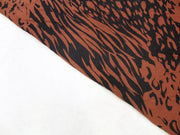 Brown Leopard Print Design Crepe Rayon Fabric | The Design Cart