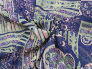 Blue Abstract Design Print Design Poly Chiffon Fabric | The Design Cart