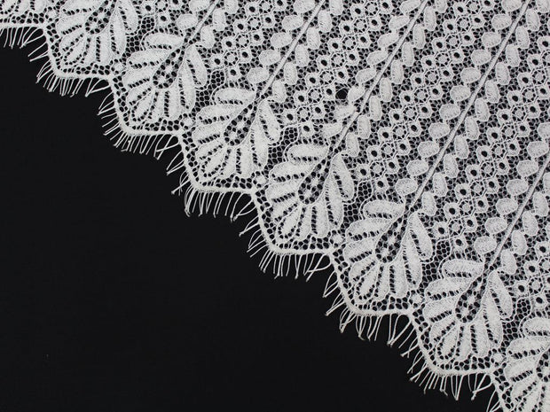 White Floral Embroidered Polyester Net Fabric | The Design Cart