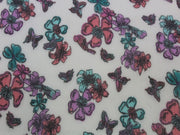 White Flower and Bird Print Design Poly Chiffon Fabric | The Design Cart