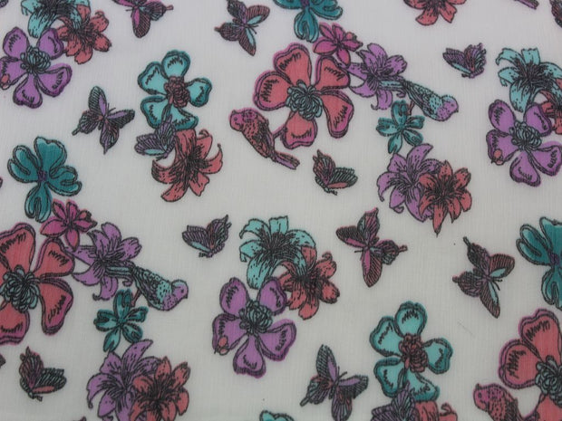 White Flower and Bird Print Design Poly Chiffon Fabric | The Design Cart (4360509423685)