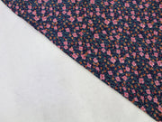 Blue Pink Flower Design Crepe Rayon Fabric | The Design Cart