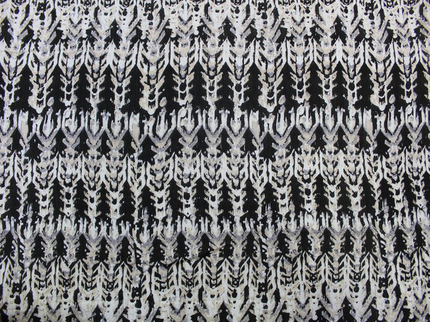 Black Abstract Print Design Crepe Rayon Fabric | The Design Cart