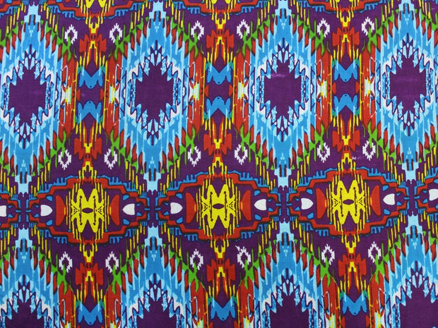 Multicolour Abstract Print Cotton  Fabric | The Design Cart