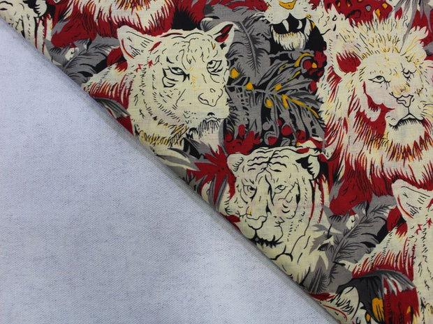 Multicolour Lion Print Design Cotton  Fabric | The Design Cart