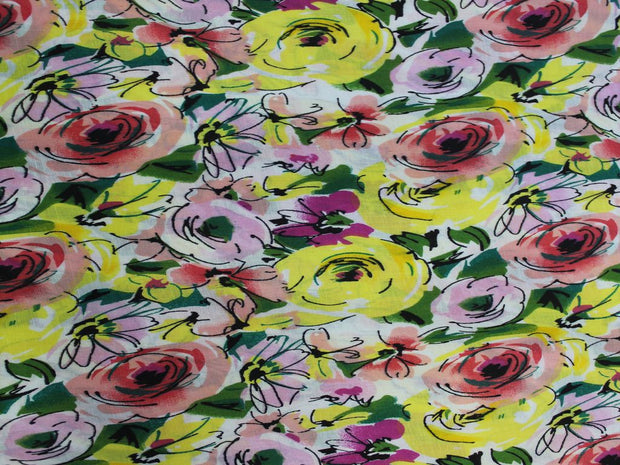 Yellow Flower Print Design Cotton  Fabric | The Design Cart