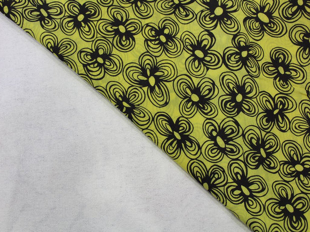 Yellow Black Flower Print Design Cotton  Fabric | The Design Cart