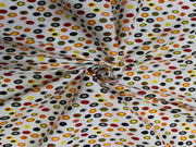 White Multicolour Polka Dot Design Cotton  Fabric | The Design Cart