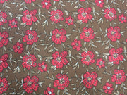 Brown Red Flower Design Cotton  Fabric | The Design Cart