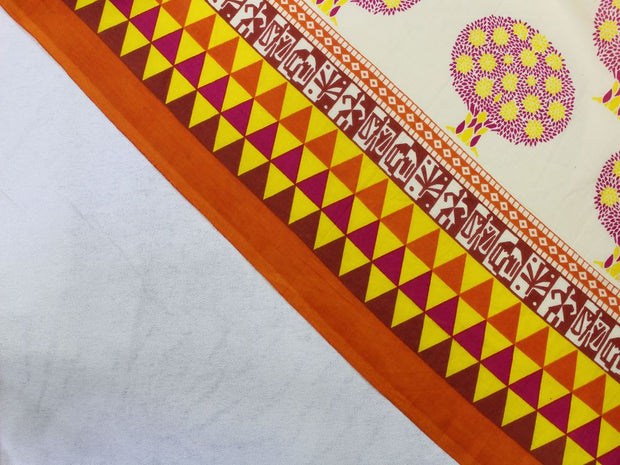 Yellow Tree Geometric Border Design Cotton  Fabric | The Design Cart