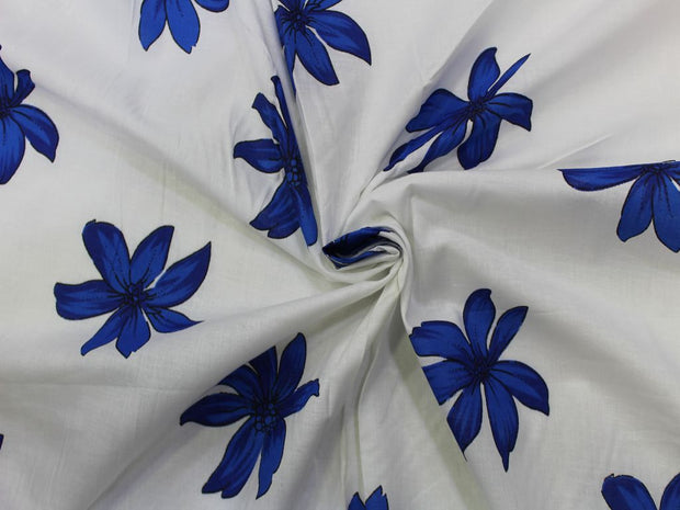 White Blue Flower Design Cotton  Fabric | The Design Cart