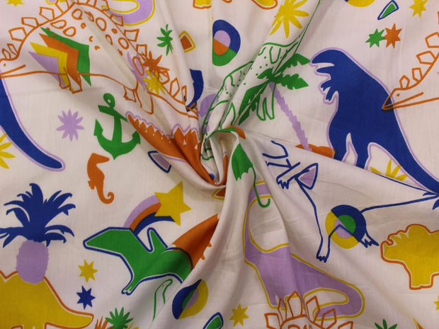White Multicolour Dinosaur Print Design Cotton  Fabric | The Design Cart