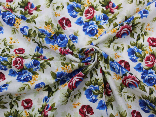 White Multicolour Flower Design Cotton  Fabric | The Design Cart