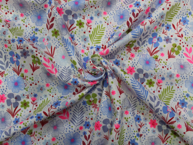 White Multicolour Flower Leaf Design Cotton  Fabric | The Design Cart