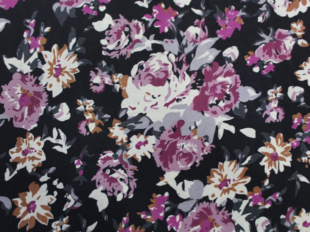 Black Flower Print Design Cotton  Fabric | The Design Cart