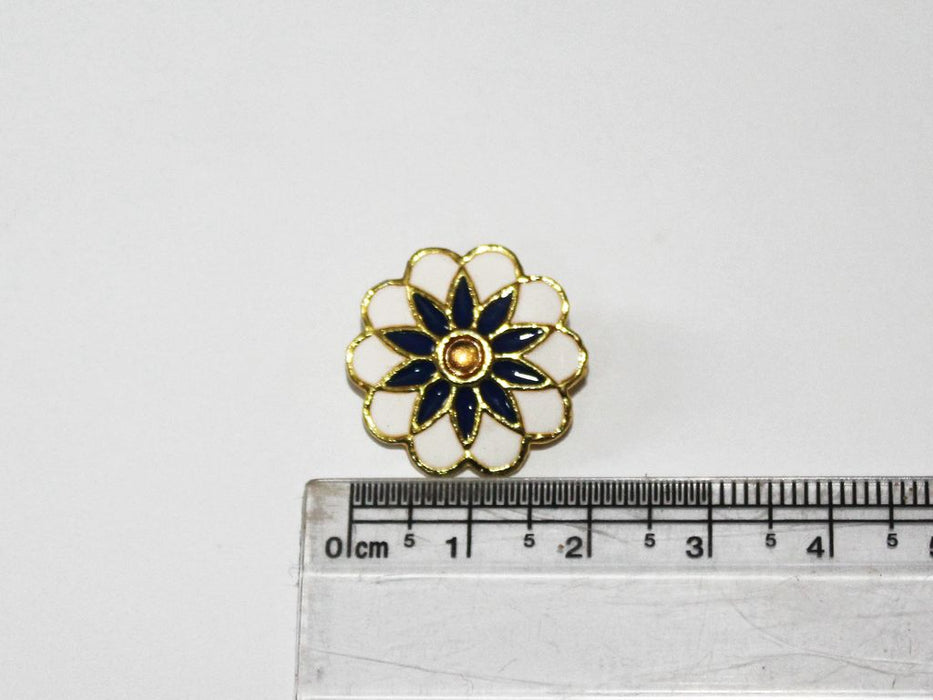 White And Blue Floral Design Kundan Buttons