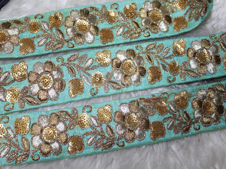 Light Blue Sequins Threadwork Embroidered Border (1802587865122)