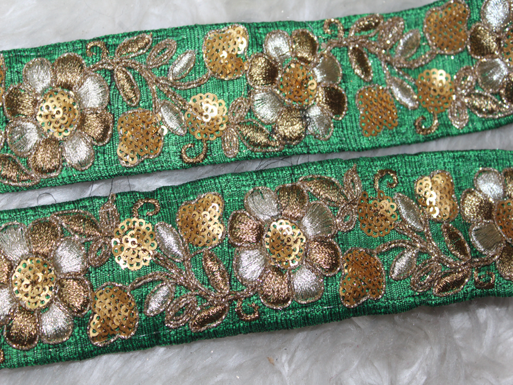 Green Sequins Threadwork Embroidered Border | The Design Cart (1802588291106)