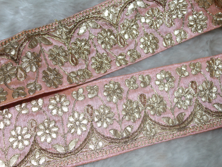 Light Pink Floral Gota Work Border (1799635501090)