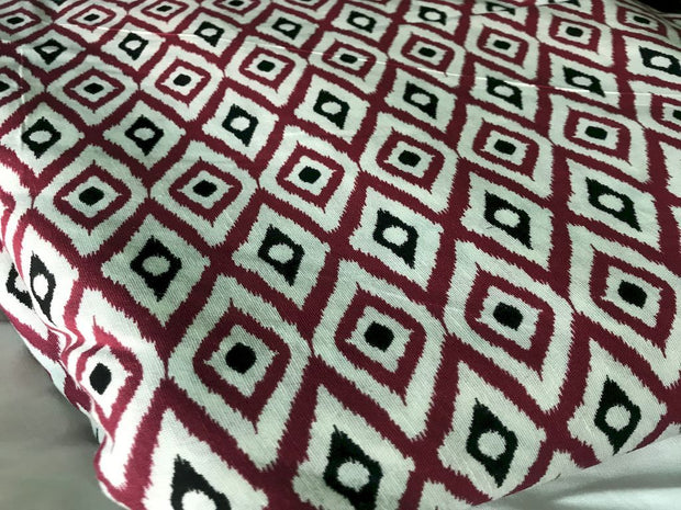 White Maroon Abstract Ikat Printed Cambric Cotton Fabric