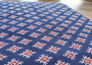 Indigo Blue Red Traditional Geometric Printed Cotton Fabric