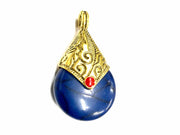 Ink Blue Circular Stone Pendant with Golden Cap
