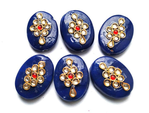 Ink Blue Oval Kundan Stone Beads (4543946358853)