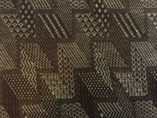 Brown Chevron Cotton Jute Blend Jacquard Fabric