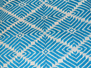 Light Blue Geometric Cotton Jacquard Fabric | The Design Cart