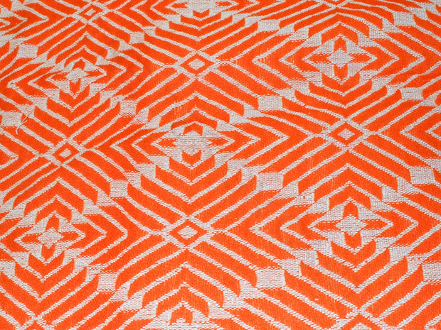 Orange Geometric Cotton Jacquard Fabric | The Design Cart