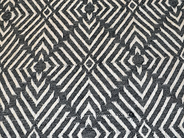 Gray White Geometric Cotton Jacquard Fabric | The Design Cart