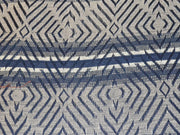 Navy Blue Gray Geometric Cotton Jacquard Fabric | The Design Cart
