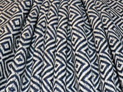 Navy Blue Geometric Cotton Jacquard Fabric | The Design Cart
