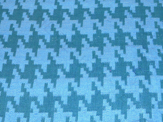 Blue Houndstooth Pattern Cotton Jacquard Fabric | The Design Cart