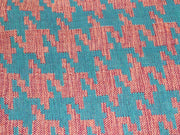 Blue Orange Houndstooth Pattern Cotton Jacquard Fabric | The Design Cart