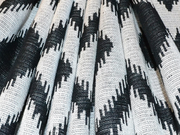 White Black Argyle Cotton Jacquard Fabric | The Design Cart