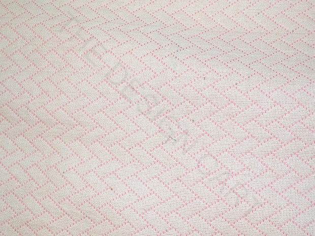 Light Pink White Geometric Cotton Jacquard Fabric | The Design Cart