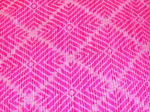 Magenta Pink Geometric Argyle Cotton Jacquard Fabric | The Design Cart