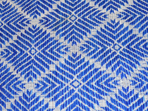 Blue Geometric Argyle Cotton Jacquard Fabric | The Design Cart