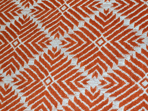 Brown Geometric Argyle Cotton Jacquard Fabric | The Design Cart