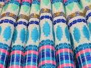 Blue Multicolour Geometric Stripes Cotton Jacquard Fabric | The Design Cart