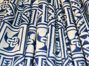 White Blue Geometric Cotton Jacquard Fabric | The Design Cart